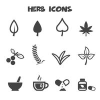 symbole d'icônes d'herbes vecteur