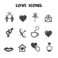 symbole d'icônes d'amour vecteur