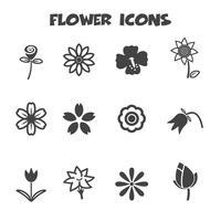 symbole d'icônes de fleur vecteur
