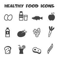 icônes d'aliments sains vecteur