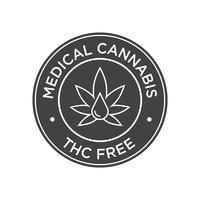 Cannabis médical. Icône THC gratuit.