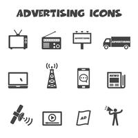 symbole d'icônes publicitaires vecteur