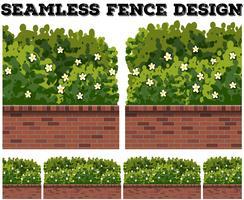 Conception de clôture sans couture avec buisson et fleurs vecteur