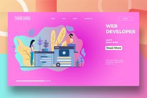 Modèle de page de destination pour développeur Web vecteur