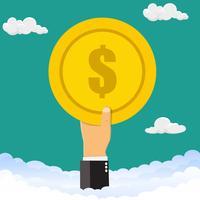 Main tenant des pièces d'argent. La main tient une pièce de monnaie dans le ciel. Illustration vectorielle