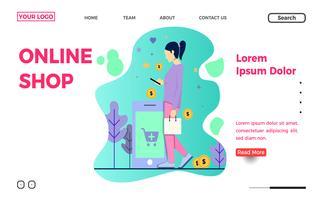 Modèle de page de destination pour boutique en ligne ou commerce électronique