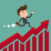 Homme d'affaires en cours d'exécution sur le graphique en flèche rouge. Illustration de l'entreprise concept. Vecteur. vecteur
