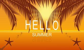 Été de vecteur sur fond d'affiche fête mer plage au coucher du soleil avec Bonjour texte d'été