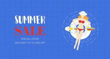 Affiche de vente de l'été, vue de dessus vecteur de piscine