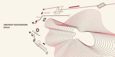 Point de vue géométrique abstrait avec fond plat style minimaliste tendance. Éléments de flèche, cercle, carré, ligne. vecteur