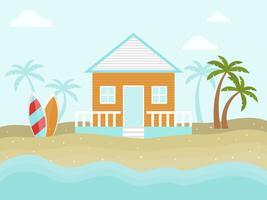 Summer Holiday, Bungalow sur le vecteur de la plage