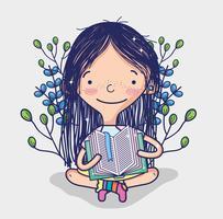 Jolie fille lisant une bande dessinée de livre vecteur