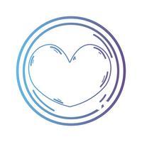 emblème de coeur de ligne à l'amour et symbole romantique