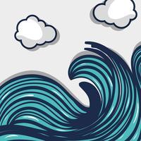vagues de l'océan avec la conception de nuages paysage vecteur