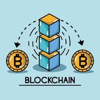 technologie de sécurité numérique cubes blockchain vecteur