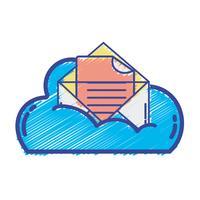 données en nuage et carte avec informations de document vecteur