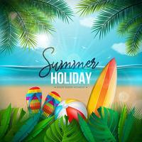 Vector illustration de vacances d'été avec ballon de plage, feuilles de palmier, planche de surf et lettre de typographie sur fond de paysage océan bleu. Design de vacances d'été
