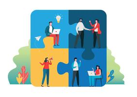 Travail d'équipe réussi concept ensemble. Personnes tenant la grosse pièce de puzzle. illustration vectorielle