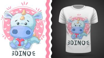 Dino mignon - idée d'un t-shirt imprimé. vecteur