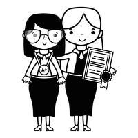 professeur de contour avec étudiant à la leçon d'éducation de classe vecteur
