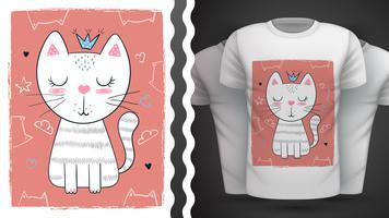 Chat, minou - idée d'un t-shirt imprimé.