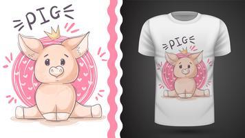 Tee-shirt cochon mignon, cochon - idée de l'impression vecteur