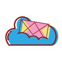 données en nuage avec message de carte de courrier électronique
