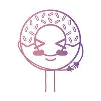 ligne kawaii mignon beignet sucré heureux vecteur