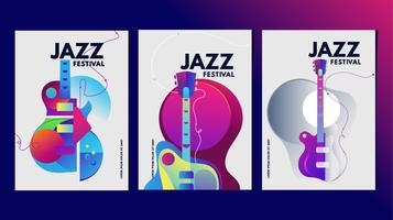 Modèle coloré d'affiche ou de bannière de festival de musique d'illustration vecteur
