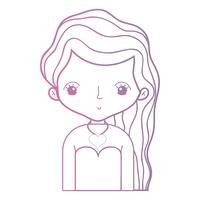 ligne beauté femme avec coiffure desiand et chemisier vecteur