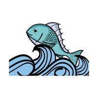 poisson animal dans la mer avec des vagues design