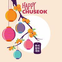 Happy Chuseok Day ou mi festival d'automne. Illustration vectorielle de fête des récoltes coréenne vacances. Mots en coréen signifiant bon moment pour Chuseok vecteur