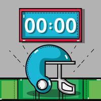 casque de football américain avec chronomètre de jeu