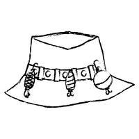 figure chapeau de paysan pêchant objet, à Warker vecteur