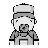 travail de plombier homme en niveaux de gris pour réparer vecteur
