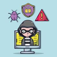 personne hacker au virus programmeur dans le système