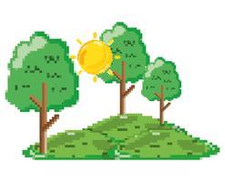 Paysage forestier pixélisé vecteur