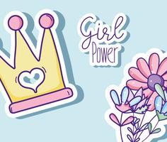 Girl power dessins animés mignons vecteur