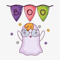 Dessin animé Halloween fantôme mignon vecteur