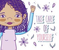 Prenez soin de vous citation avec dessin animé fille