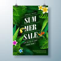 Modèle de conception affiche de vente de l'été avec fleur, oiseau Toucan et feuilles exotiques sur fond vert foncé. Illustration vectorielle floral tropical avec typographie offre spéciale pour le coupon