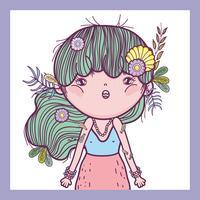 fille défenseur des créatures avec des fleurs et des feuilles vecteur