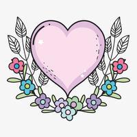 coeur avec des fleurs et des feuilles pour la Saint Valentin vecteur