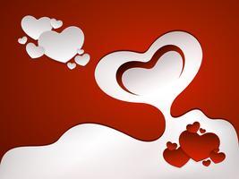 Carte de voeux rouge avec des coeurs
