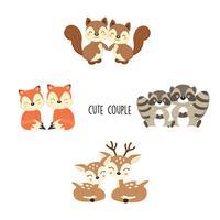 Joli couple animaux des bois. Dessin animé de renards, ratons laveurs, écureuils.