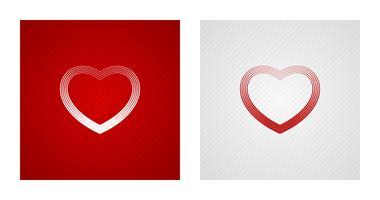 Esquisser des croquis de coeur sur fond rouge et blanc vecteur