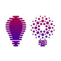 Icônes numériques ampoules avec des lignes et des points vecteur