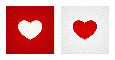 Rayé formes de coeur de gravure sur fond rouge et blanc vecteur