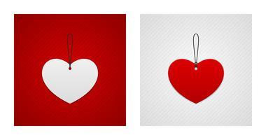 Etiquettes en forme de coeur rouge et blanc vecteur