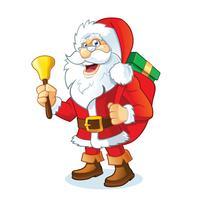 Père Noël tenant un sac avec des cadeaux vecteur